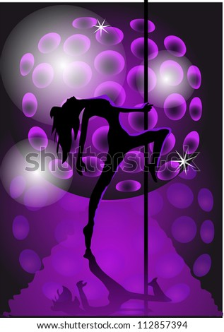 black silhouette of a girl dancing with a pole