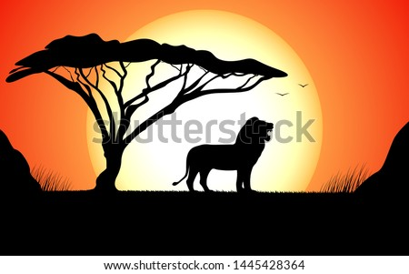 Black silhouette of a growling lion stands next to a tree against a sunset. Vector illustration African nature with wild lion.