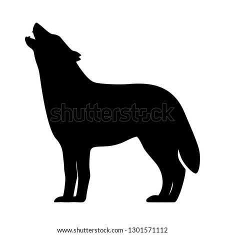 black silhouette of a howling