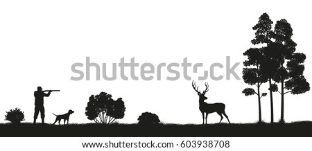 black silhouette of a hunter