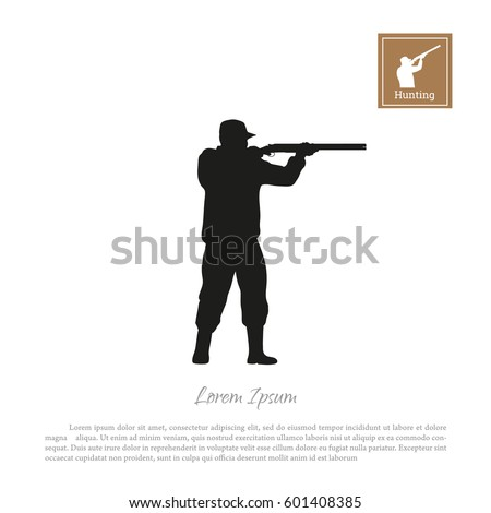black silhouette of a hunter on