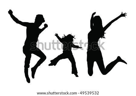 black silhouette of a jumping family