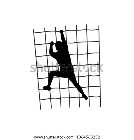 Black silhouette of a man overcoming the obstacle. Obstacle race symbol. Vector illustration. ストックフォト ©