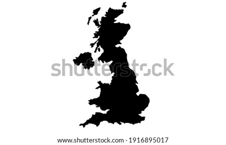 Black silhouette of a map of Great Britain in Europe on a white background