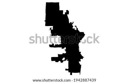 black silhouette of a map of Milwaukee in wisconsin USA on white background