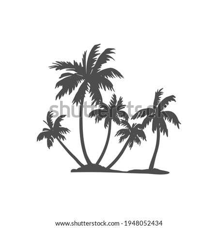 Black silhouette of a palm tree. Tropical leaves. Coconut palm, exotic lush sketch or hawaii coco palms. Vector illustration. For design of t-shirts, cards, invitations in retro style Foto stock ©