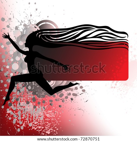 black silhouette of a running girl with wavy hair
