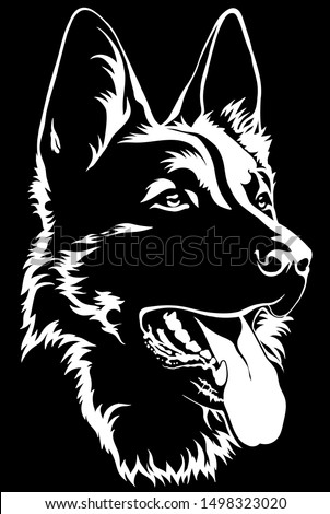 Black silhouette of a sitting German Shepherd Black and white Stockfoto ©