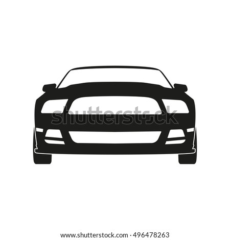 Black silhouette of a sports car on a white background. Front view. Vector illustration