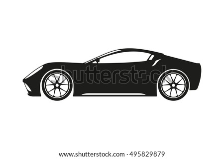 stock-vector-black-silhouette-of-a-sports-car-on-a-white-background-vector-illustration