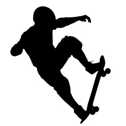 Black silhouette of an athlete skateboarder in a jump.