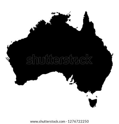Black silhouette of australia map, geographic vector illustration, australian continent icon