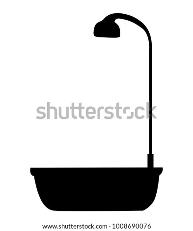 Black silhouette of bathtub with shower head icon isolated on white background. Bath time vector illustration, logo, icon, clip art for design.