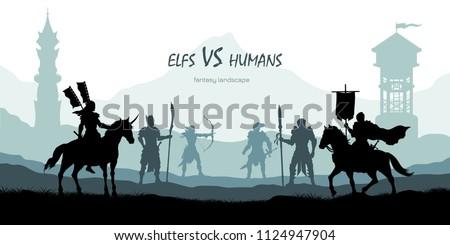 black silhouette of battle