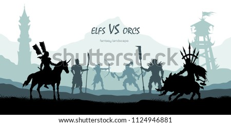 black silhouette of battle orcs