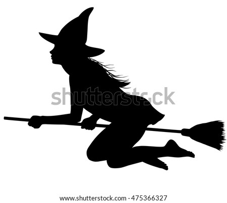 illustrations of silhouette witch flying on broomstick down ez canvas