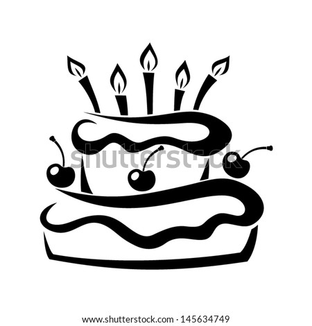 Black Silhouette Of Birthday Cake. Vector Illustration ...