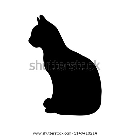 Black silhouette of cat on white background. Vector illustration. Stencil. Pet icon.