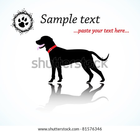 Black Silhouette of Catahoula Dog, Vector, with area for your text