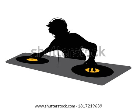 Black Silhouette Of DJ With Headphone Working On A Double Deck With Vinyl Discs Over White Background Сток-фото ©