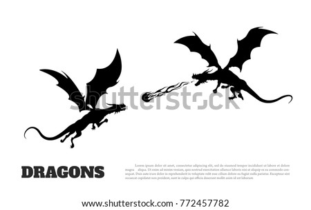 black silhouette of dragons