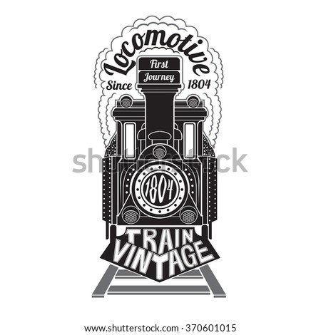 Black silhouette of face old locomotive with text locomotive in smoke