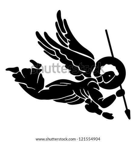 Black silhouette of flying angel with spear