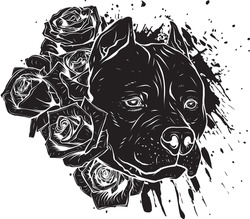 black silhouette of head dog with roses vector illustration
