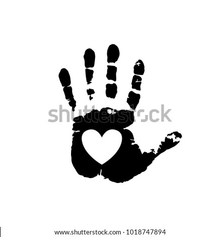 Black silhouette of human hand print with heart symbol in open palm isolated on white background. Vector monochrome illustration, icon, logo, clip art. White heart in black palm print.