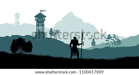 black silhouette of knight on