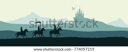 black silhouette of knights on