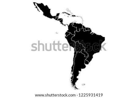 Black silhouette of Latin America.