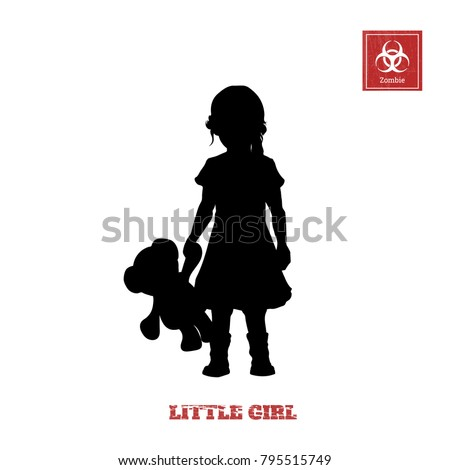 black silhouette of little girl