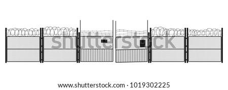 black silhouette of prison on