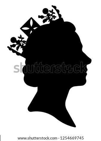 Black silhouette of Queen Elizabeth. Traditional image of the queen side view. Сток-фото ©