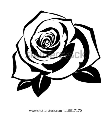 black silhouette of rose with