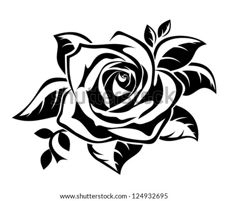 Black silhouette of rose with leaves Vector illustration