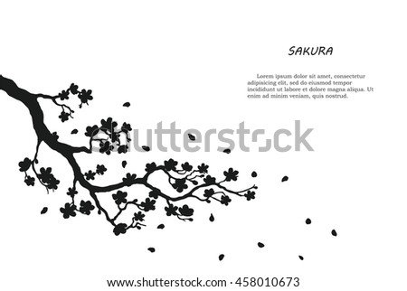 black silhouette of sakura on a
