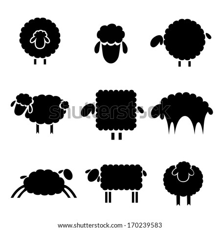 Sheep Vector Silhouette Black Silhouette of Sheep on a