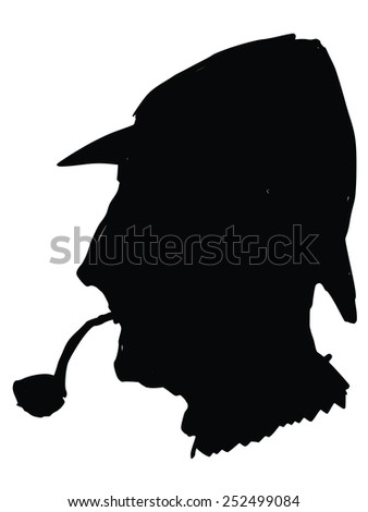 black silhouette of sherlock