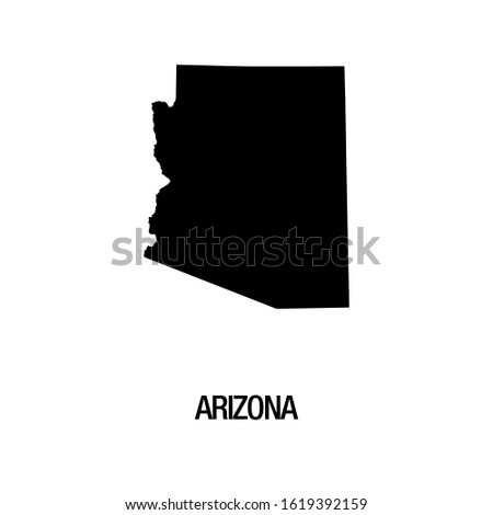 Black silhouette of the map of Arizona State on the white background