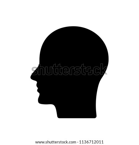 black silhouette of the profile of the human head. flat vector illustration isolated on white background