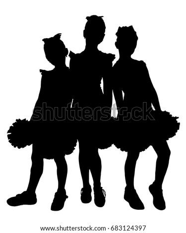 black silhouette of three girls