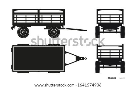 Black silhouette of tractor trailer. Side, front, back and top view of agriculture machinery. Farming machinery. Industrial blueprint. Vector illustration