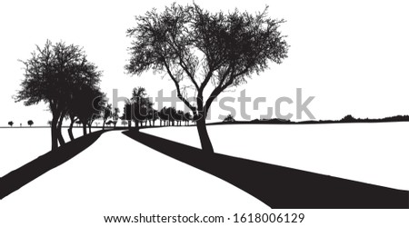 black silhouette of tree with