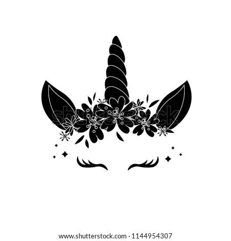 black silhouette of unicorn on