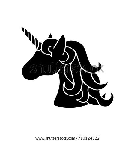 Black silhouette of unicorn. Vector illustration drawing, isolated on white background. Black shape of unicorn's head. Graphic icon, print or logo.
