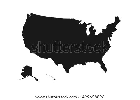 Black silhouette of United States of America map on white background. EPS10 vector USA file organized in layers for easy editing.