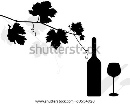 Black silhouette of vine leaves, bottle and wineglass - stock vector
