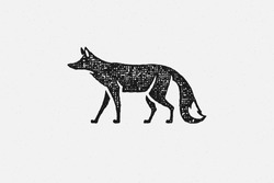 Black silhouette of wild fox walking as symbol of wildlife in countryside hand drawn stamp effect vector illustration. Vintage grunge texture on old paper for poster or label decoration.